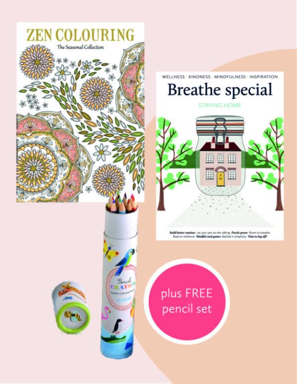 bundle Breathe Stay At Home + Zen colouring + pencils